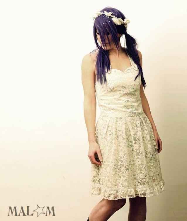 Robe coton vintage fleuri et dentelle blanche par Malam