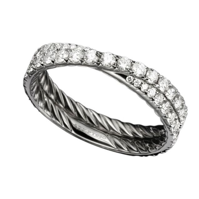 Alliance originale en platine et diamants David Yurman