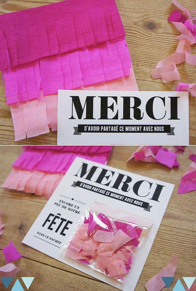 Carte de remerciement confettis