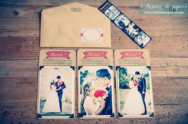 Carte de remerciement mariage avec photo