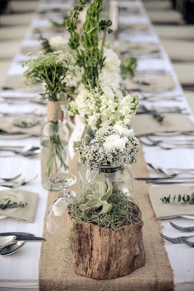Bouquet de fleurs blanches champêtre