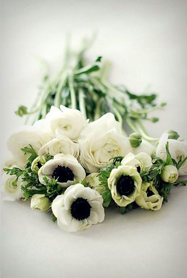 Bouquet de fleurs blanches et pivoines
