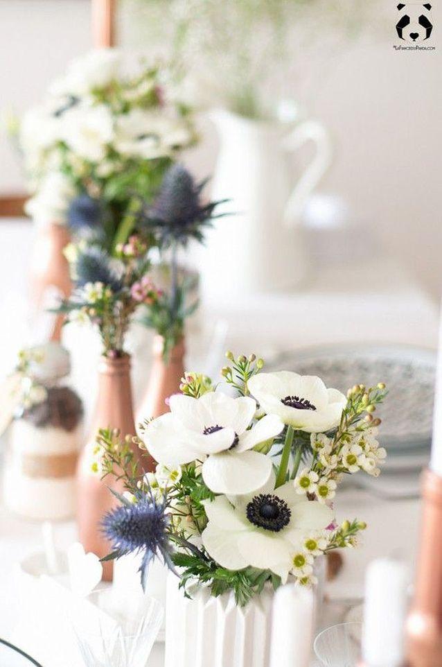 Bouquet de fleurs blanches fait maison