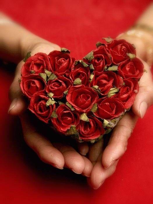 Bouquet de roses en cœur