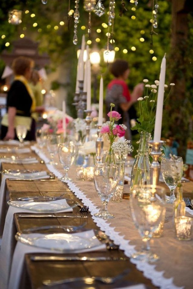 Décoration de table de mariage avec des bougies