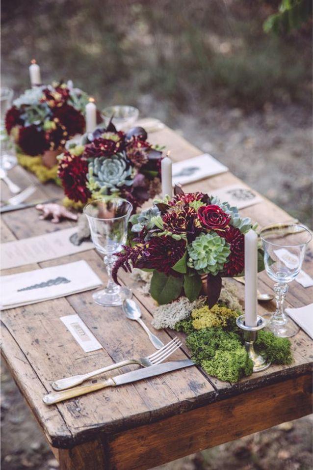 Décoration de table de mariage nature