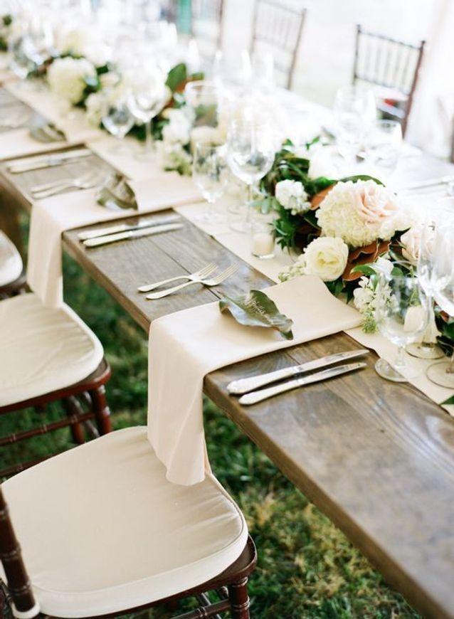 Décoration de table de mariage tout blanc