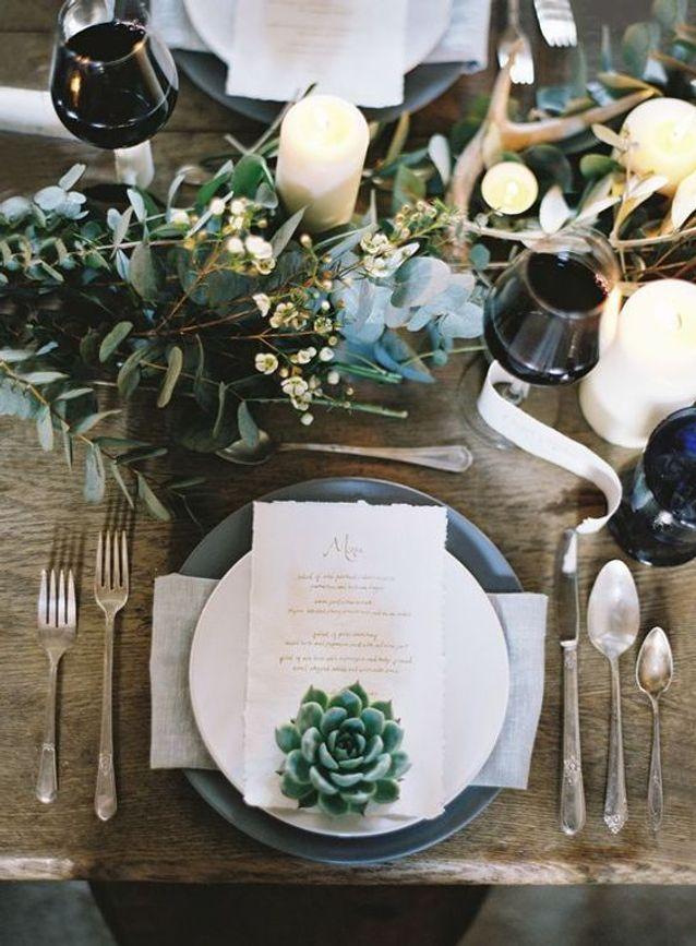 Décoration de table de mariage végétale