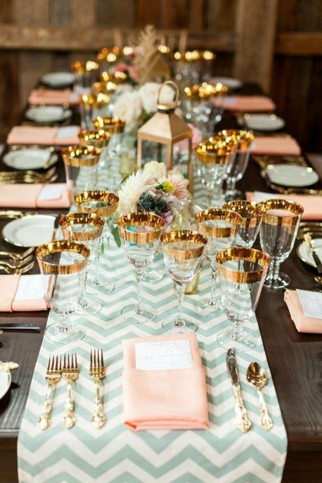 Décoration de table mariage dorée