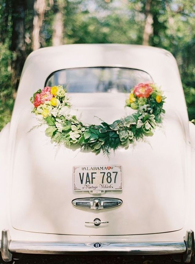 decoration voiture mariage champetre
