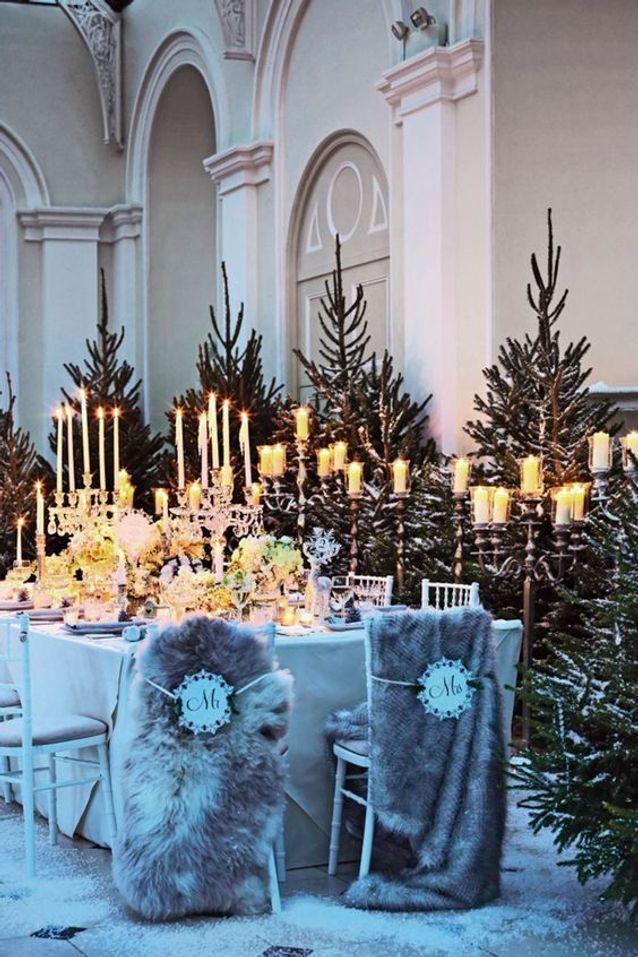 Chaise de mariage pour mariage en hiver