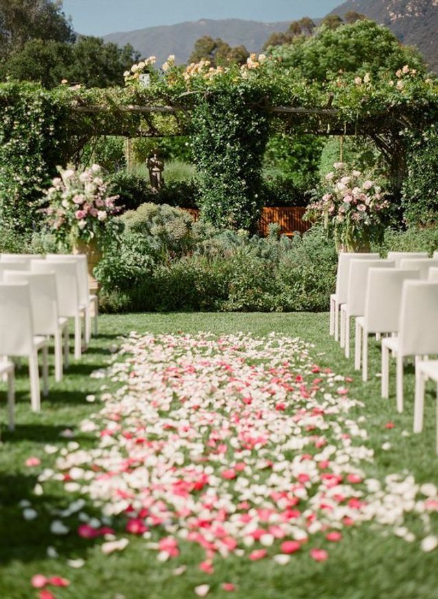 Pétales de roses pour un parterre de mariage en extérieur