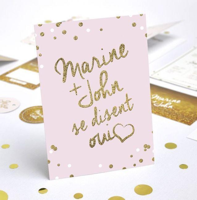 Faire-part mariage doré