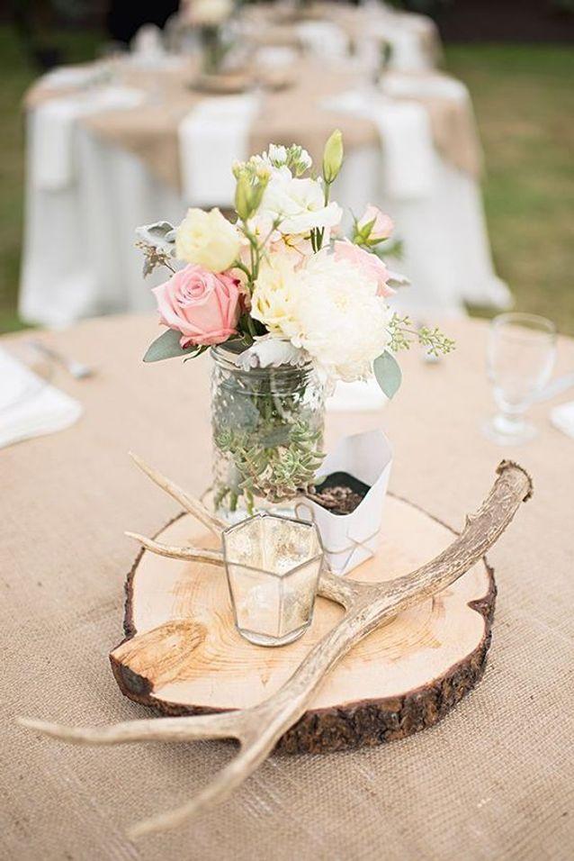 Mariage champêtre centre de table