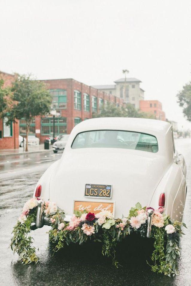 Mariage vintage décoration de voiture
