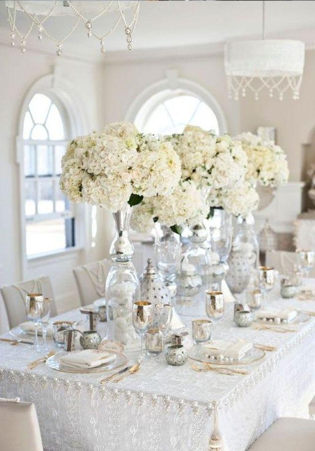 Thème mariage argent et blanc