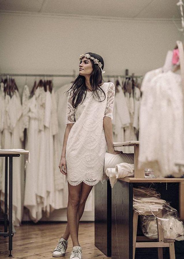 Robe de mariée dentelle droite