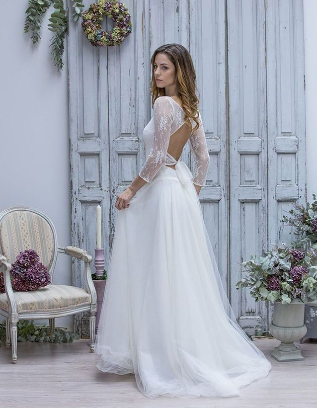 Robe de mariée dentelle et tulle Marie Laporte