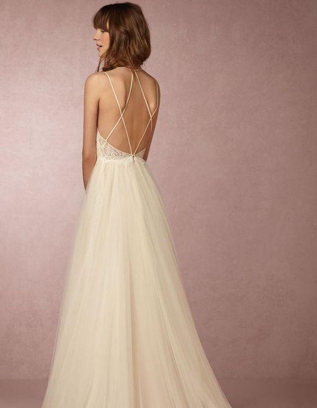 Robe de mariée de princesse à bretelles -