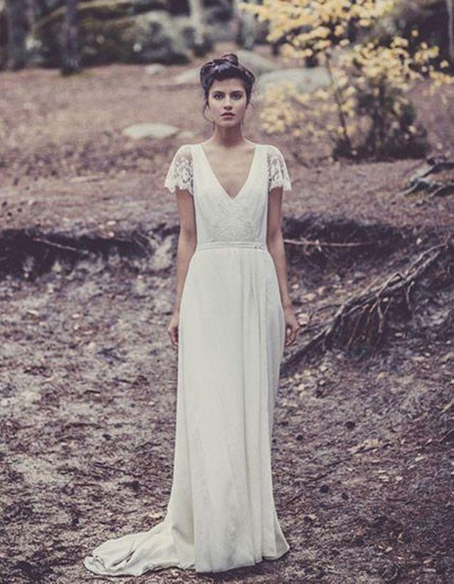 Robe de mariée de princesse manches courtes