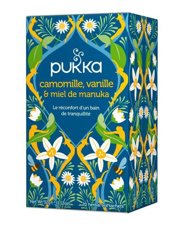 Camomille, vanille et miel de manuka, Pukka, 4,90 € les 20 sachets