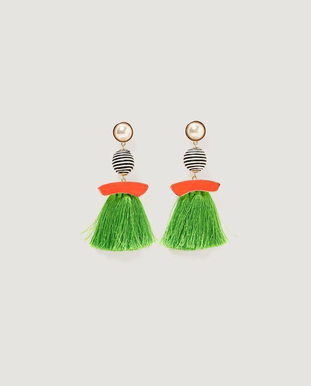 Boucles d'oreilles pompon orange Zara