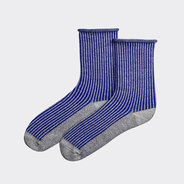 Chaussettes côtelées en lurex argent et bleu électrique Pas Chassé