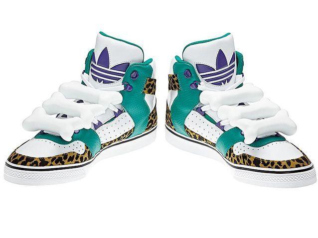 Baskets en cuir et imprimé léopard, Jeremy Scott pour Adidas
