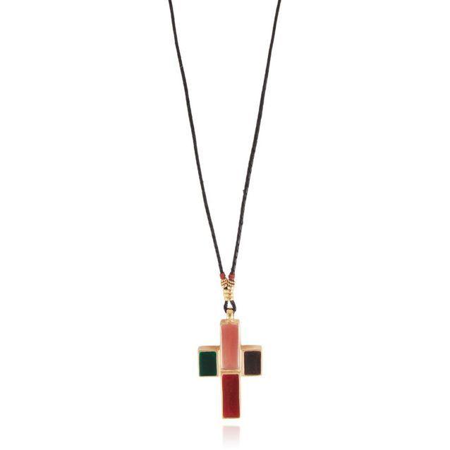Le collier croix émaillée Gas Bijoux imaginée en 1975