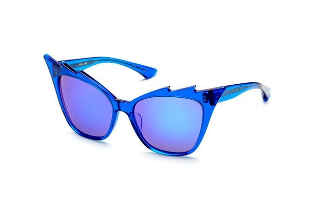 Lunettes de soleil effet miroir bleu Dita