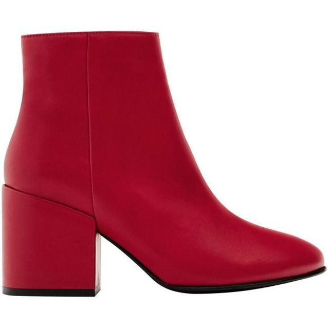 Bottes rouges à gros talons Pull & Bear