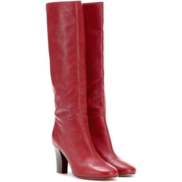 Bottes rouges en cuir froncé Valentino