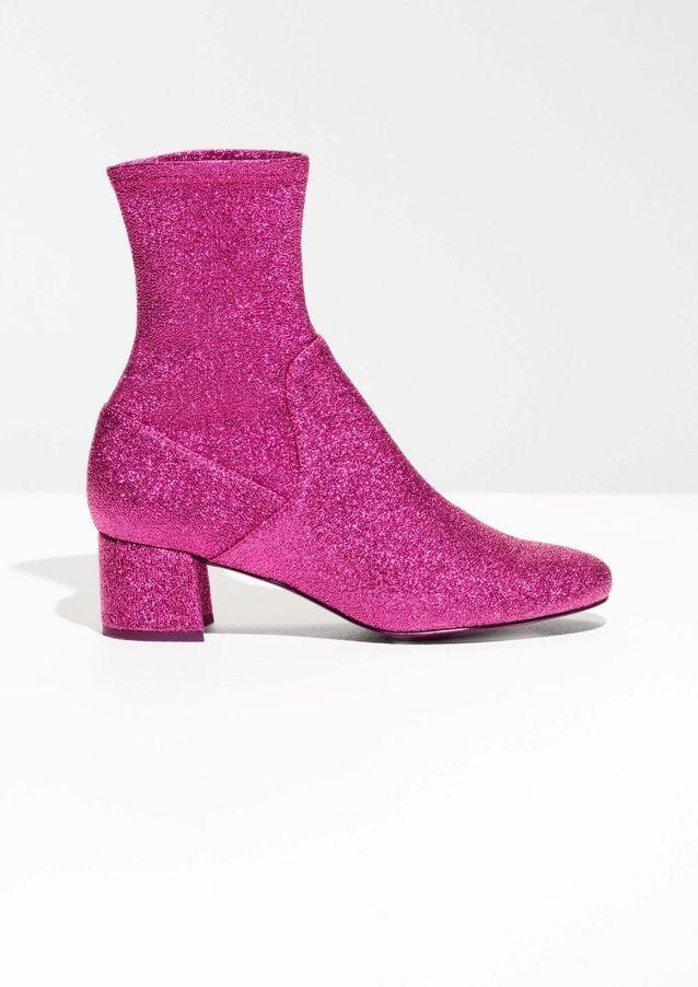 Bottines chaussettes à paillettes rose & Other Stories