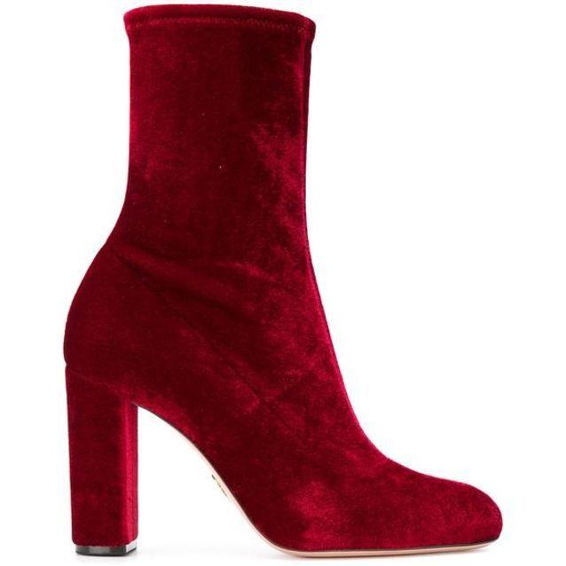 Bottines chaussettes en velours rouge Oscar Tiye