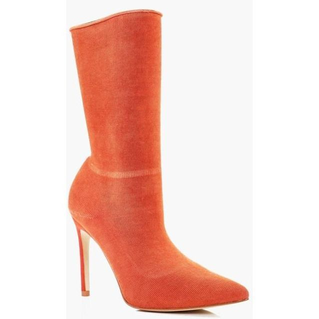 Bottines chaussettes orange Boohoo