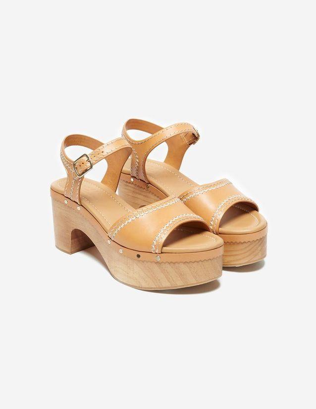 Grosses sandales en cuir Sandro