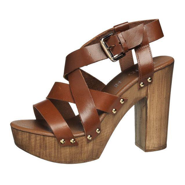 Sandales à plateau en cuir et bois
