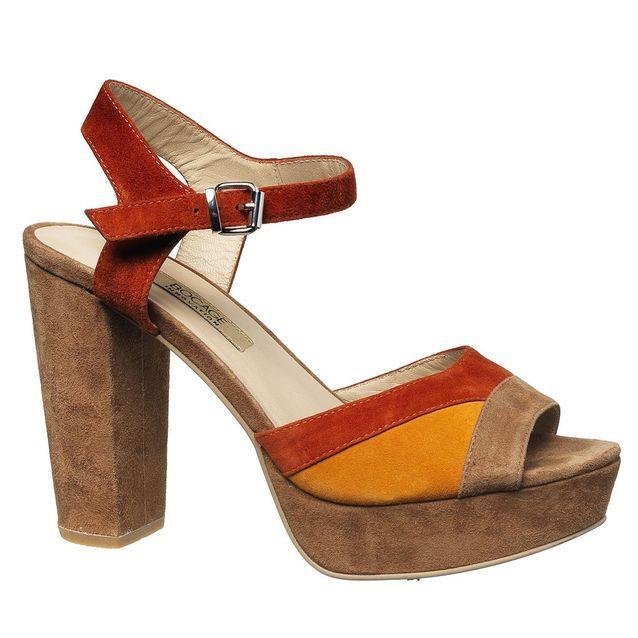 Sandales à plateau en cuir velous