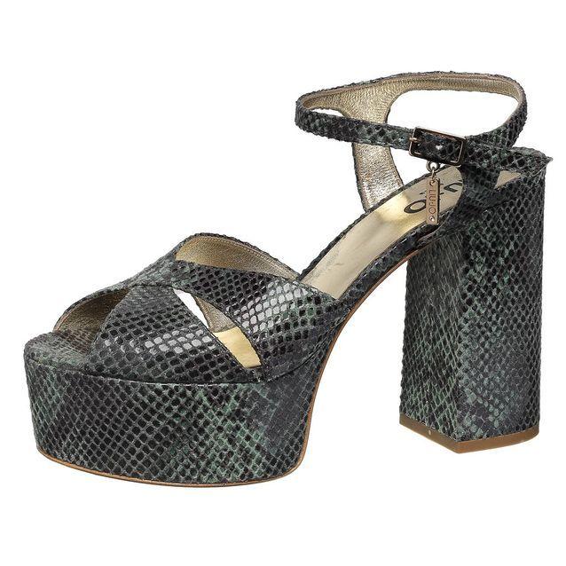 Sandales à plateau en cuir