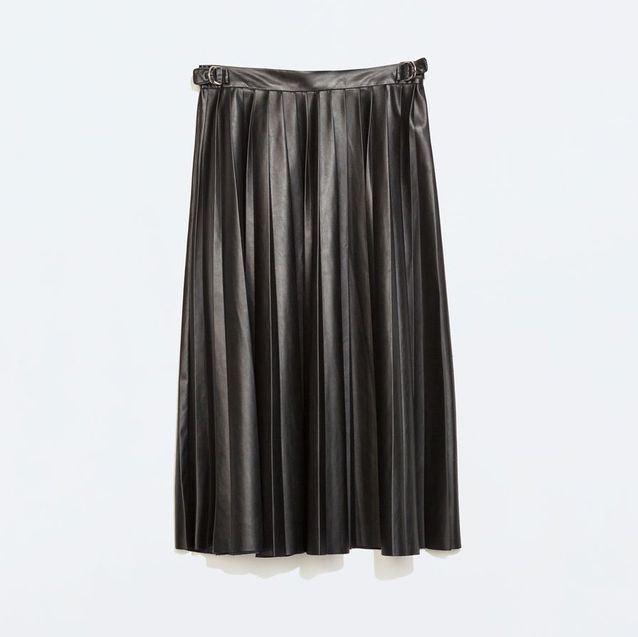 jupe plissée zara simili cuir