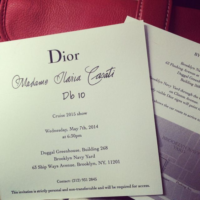 L'invitation au défilé Dior