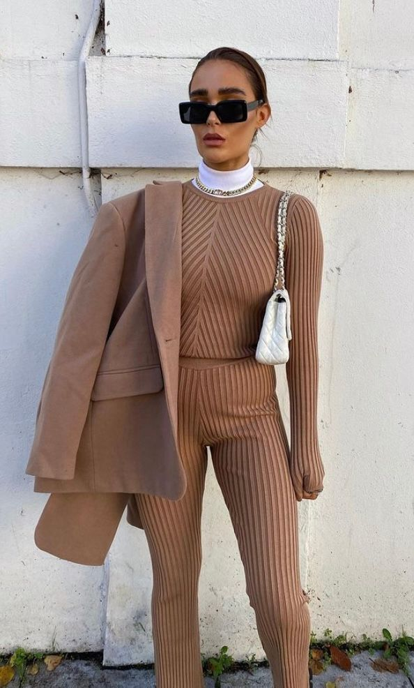 Ribbed set with suit jacket, Athflow