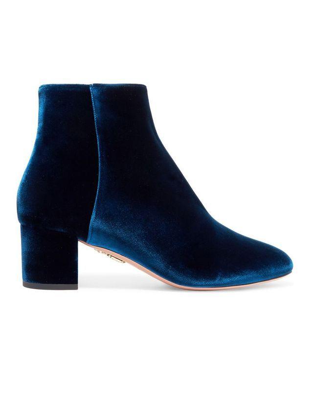 Bottines en velours bleu marine