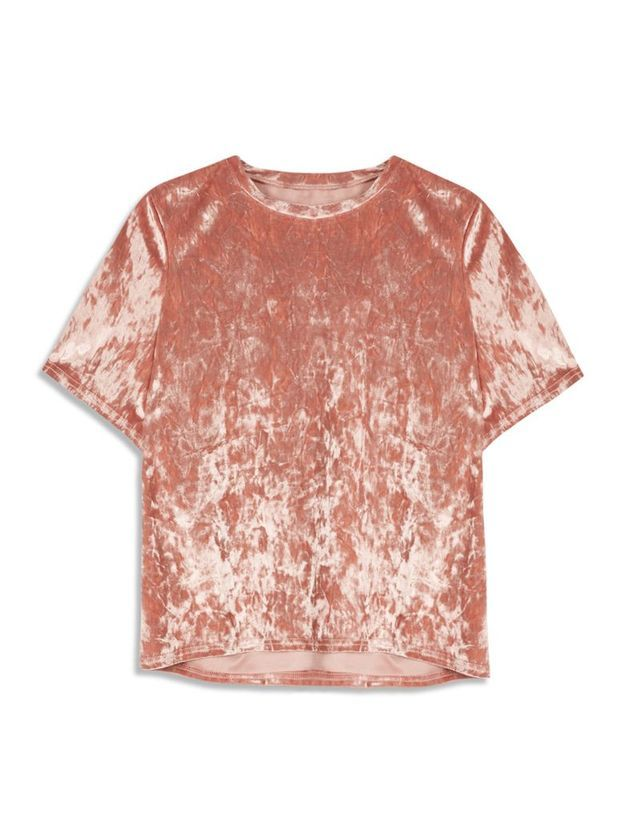 T-shirt en velours rose