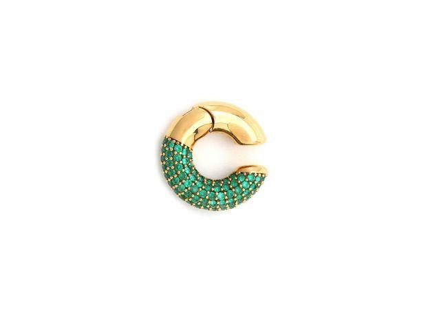 Boucles d'oreilles dorées ornées de cristaux verts - Fendi