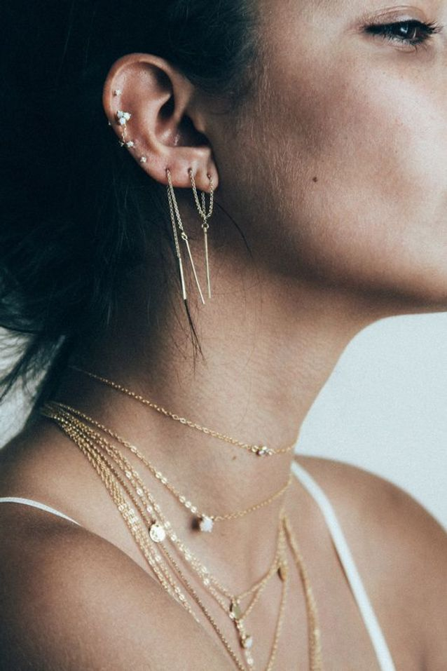 Piercing oreille chaîne