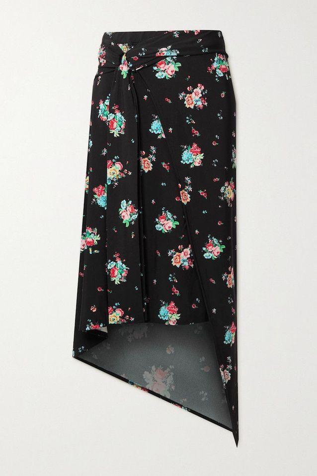 Jupe midi effet portefeuille en jersey stretch et imprimé fleuri, Paco Rabanne sur Net à Porter