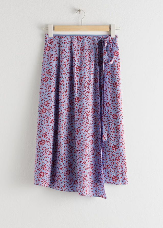 Jupe Satin Tie Midi Wrap Skirt, And Other Stories