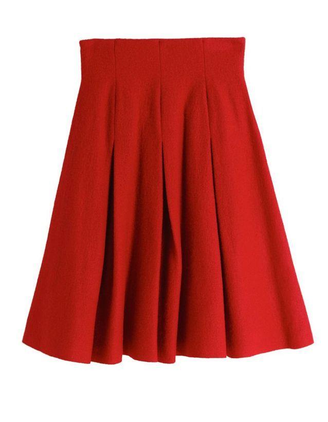Jupe plissée rouge Cacharel