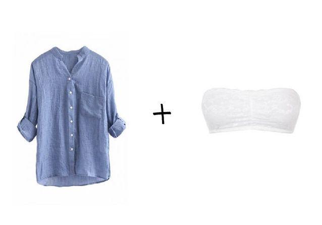 Chemise bleue Pink Queen, Soutien-gorge bandeau blanc Skiny